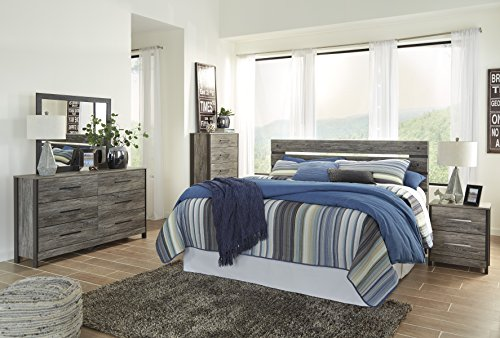 Cazeneril Contemporary Black/Gray Bedroom Set: King/Cal Panel Headboard, Dresser, Mirror, Nightstand, Chest (King Set Bedroom Cal Panel)