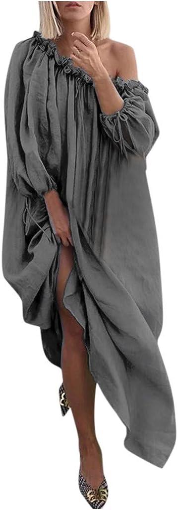 OFEFAN Women Plus Size Loose Maxi Dress Solid Off Shoulder Boho Swing Sundress Casual
