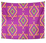 Emvency Tapestry Polyester Fabric Print Home Decor Purple Abstract in Boho Style Ethnic Tribal Design Africa African American Wall Hanging Tapestry for Living Room Bedroom Dorm 50x60 inches
