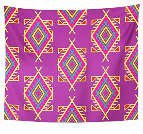 Emvency Tapestry Polyester Fabric Print Home Decor Purple Abstract in Boho Style Ethnic Tribal Design Africa African American Wall Hanging Tapestry for Living Room Bedroom Dorm 50x60 inches by Emvency
