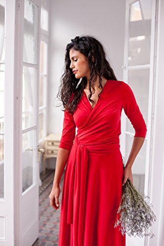 Long red multi way wrap evening dress with three quarter sleeve - Size L by Mimètik Bcn