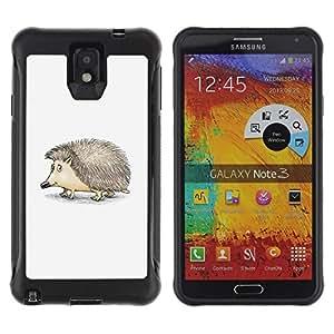 Suave TPU Caso Carcasa de Caucho Funda para Samsung Note 3 / Hedgehog Thorns Cute Animal Drawing Art / STRONG