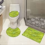 Lime Green 3 Piece Toilet Cover set Pastel Wall Vibrant Toned Brick Background Modern Urban Style Artistic Boho pattern Apple Green