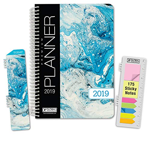HARDCOVER Calendar Year 2019 Planner: (November 2018 Through December 2019) 5.5x8 Daily Weekly Monthly Planner Yearly Agenda. Bonus Bookmark, Pocket Folder and Sticky Note Set (Blue Marble)