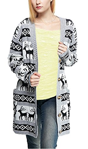 v28 Womens Oversized Christmas Reindeer Cardigan (Large, Grey Reindeer -