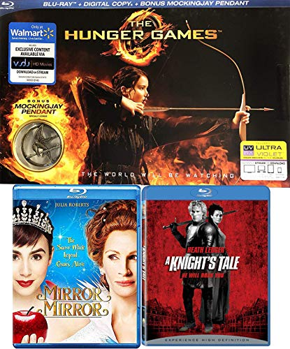 Snow White Special Edition - A Heroic Fantasy Triple Feature Knights Tale Blu Ray + Mirror Mirror Snow White Story & Hunger Games with Mockingjay Pendant Exclusive Special Edition 3 - Pack