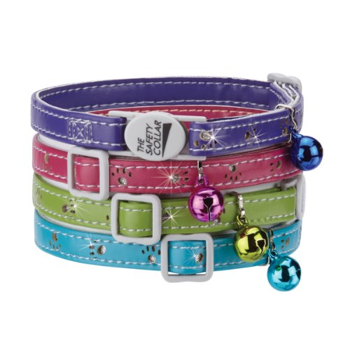 MPP Sparkle Paw Print Cat Collars Faux Leather Design Jingle Bell Buckle 8'' - 12'' (All 4 Colors) by MPP