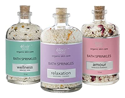 elixir naturel Unwind Trio Bath Bomb Sprinkles, Combination of Bath Salts & Blend of Essential Oils 100% Natural & Organic, Set of 3 Bath Sprinkles, One Each for Relaxation, Sensual Romance & Wellness