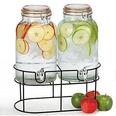 Simple Flow - Double Mason Jar Glass Drink Beverage Dispenser - 1.5 gallons each