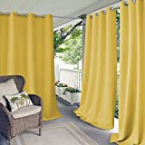Elrene Home Fashions Indoor/Outdoor Patio Gazebo Pergola Solid Grommet Top Single Panel Window Curtain Drape, 52 Inch Wide x 84 Inch Long, Yellow (1 Panel)