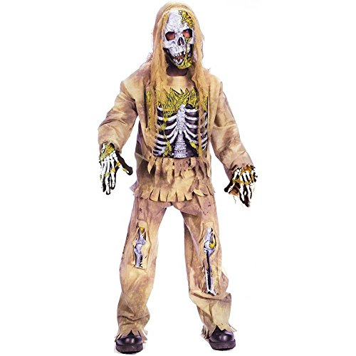 Fun World Skeleton Zombie Child Costume, Large (12-14) -