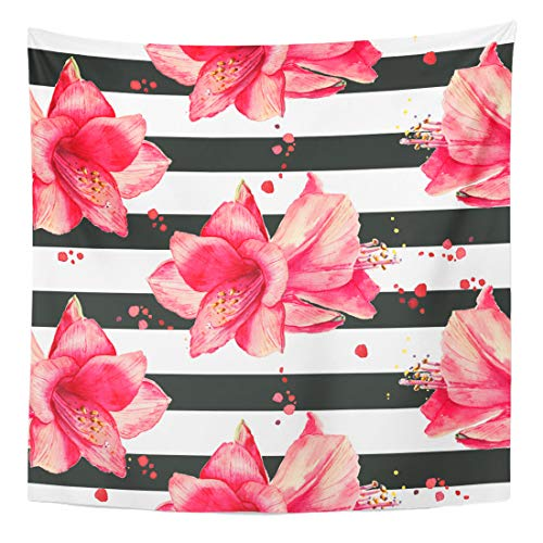 Semtomn Tapestry Wall Hanging Home Art Purple Stripe Watercolor Pattern Red Amaryllis Flowers Striped Black 60