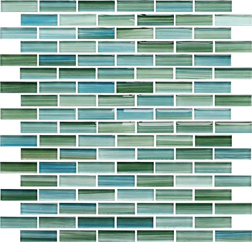 Sample - Rip Curl Green and Blue Hand Painted Glass Mosaic Subway Tiles for Bathroom Walls or Kitchen Backsplash