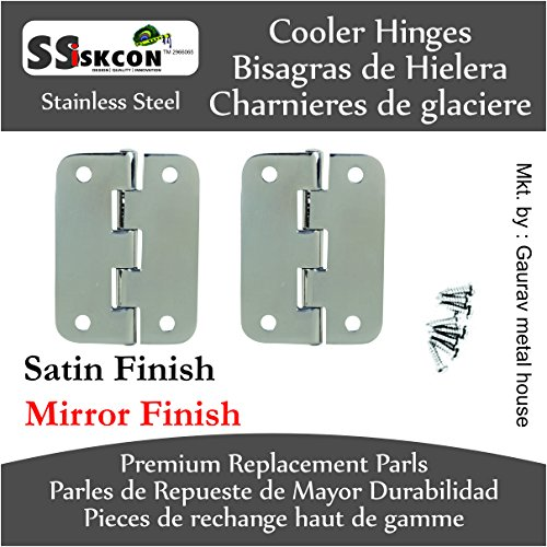 Cooler Hinge Set of 2 PCS Stainless Steel Bright Mirror Polished Life TIME Durable ICE Chest Replacement Hinge 8 pcs Stainless Steel Screws) by SS iSKCON (Image #4)