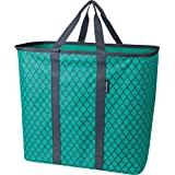 CleverMade SnapBasket LaundryCaddy Pop-Up Hamper Collapsible Laundry Basket/Tote Bag, Teal/Charcoal Quatrefoil Pack of 1