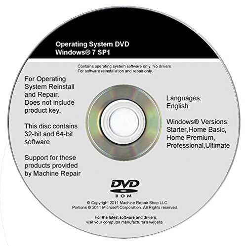 WINDOWS 7 INSTALL DVD 32 64 Bit SP1 Reinstall System Repair All Recovery Restore CD Disk Disc by Machine Repair...