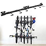Bike Storage Rack Foldable Bike Wall Mounted Bike Hanger Holder Bicycle Cycle Storage Rack Holds 5 Bicycles Adjustable Garage Storage Systems for Home & Garage, Pack of 2