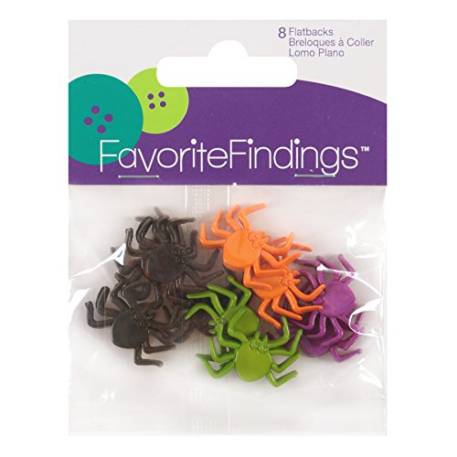 Blumenthal Lansing Buttons, Spider Shaped, For Sewing or Halloween Craft Projects, All One Shape and Size - Black, Purple, Orange, Green (Black Button Spider)