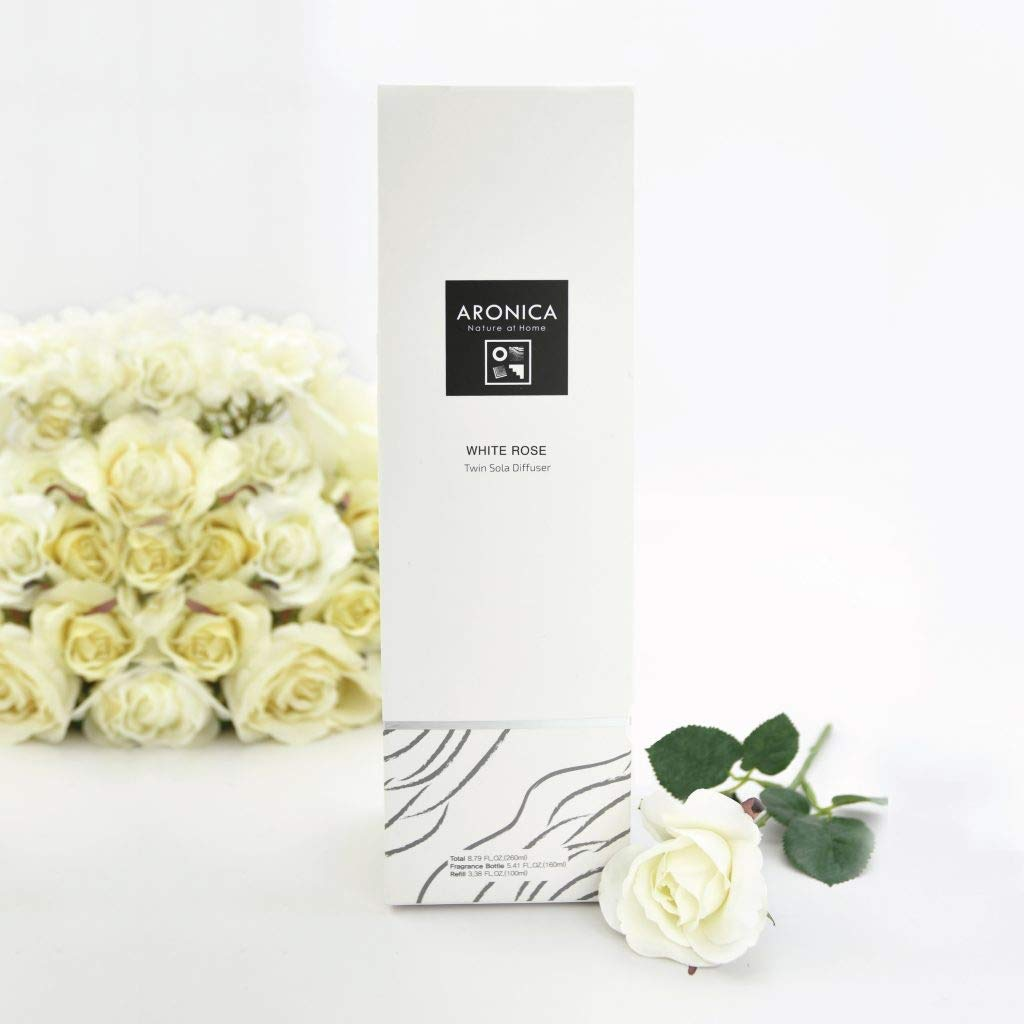 Aronica Premium Twin Flower and Reed Diffuser with Refill 8.8oz/260 ml - White Rose by Aronica (Image #2)