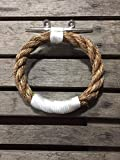 Manila Natural Rope Towel Ring With Stainless Steel Cleat Nautical Bathroom Towel Rack