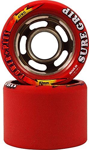 Indoor Speed Wheel (Sure Grip Red 93A Power Plus Quad Indoor Roller Derby Speed Skate Wheels 8 Pack)