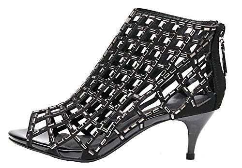 Black Rhinestone Evening Sandals Womens Heel Prom 2inch jiandick Bootie Dress Stiletto Heeled Ankle High 15q0x7xH