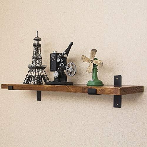 Vintage schwarz Metall Regal Klammern w Holzgestell Wand