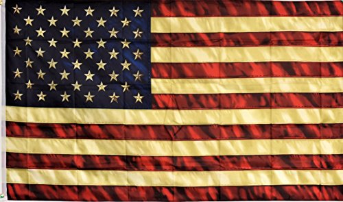 (MWS 3x5 USA American 50 Star Tea Stained Vintage Super Polyester Nylon Flag 3'x5' House Banner 90cm x 150cm Grommets Double Stitched Premium Quality Indoor Outdoor Pole Pennant (Brand New))