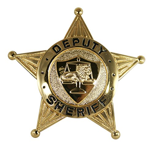 Metal Police Badge (Metal Police Deputy Sheriff GOLD 5-Point Star Uniform Costume Theater Badge)