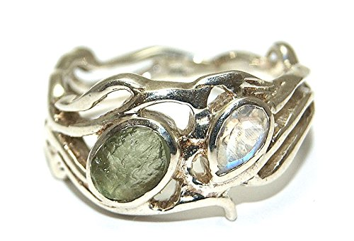 Moldavite and Rainbow Moonstone Ring - Sterling Silver - Size Q by Gifts and Guidance