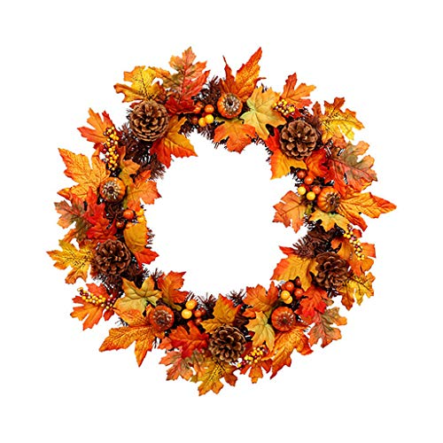 - ❤️Ywoow❤️ Artificial Garland, Pinecone Maple Wreath Garland Home Window Decoration Festival Ornaments