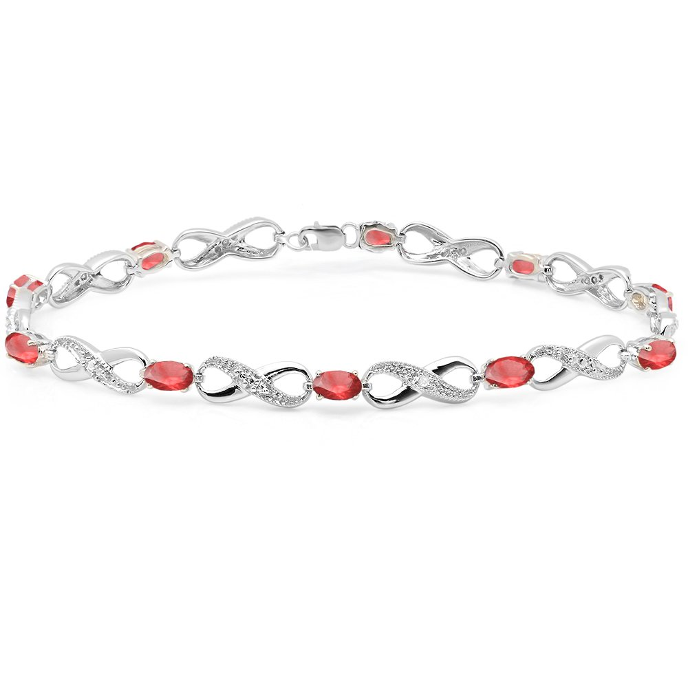 Sterling Silver Real Oval Cut Ruby & Round Cut White Diamond Ladies Infinity Link Tennis Bracelet