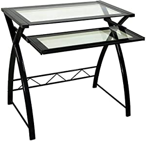 Twin Star Home Glass Computer Desk for Small Spaces, Office Desk with Pull Out Keyboard Tray | Work Table with Crisscross Shape Steel Frame in Black