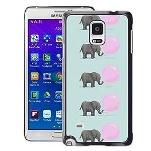 A-type Arte & diseño plástico duro Fundas Cover Cubre Hard Case Cover para Samsung Galaxy Note 4 (Elephant Cute Pink Balloon Pattern)