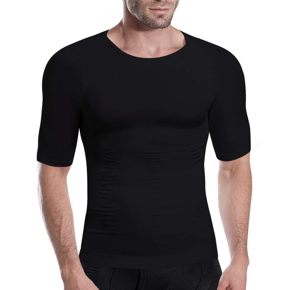 H/ÖTER Mens Slimming Light Compression Crew Neck Shirt Short Sleeve Body Shaper T-Shirt for Weight Loss