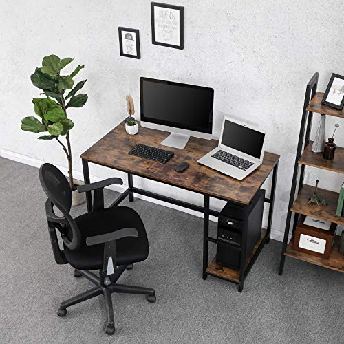 VASAGLE Industrial Writing, Computer, 47'' Office Study Desk with 2 Storage Shelves on Left Right, Stable Metal Frame, Easy Assembly ULWD47X, Rustic Brown by VASAGLE (Image #1)
