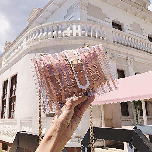 Transparente Bolsa Lentejuela Color Paquete Carta Mujer Gelatina Láser Cuadrada Costura Retro Tendencia Bolso Contraste De Impresión Pequeña 4qFwvTBv