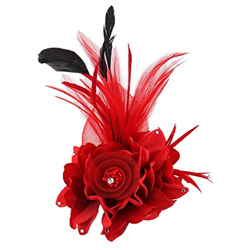 ACTLATI Charming Mesh Feather Hair Clip Women Girls Hairpin Cocktail Party Flower Barrette Fascinator Hat, Red, One Size