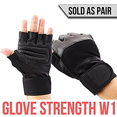 147th Gloves Strength W1 - Durable Tactical Workout Gym Leather Gloves Wraps with Wrist Support - For Elite Athletes: Military, Powerlifting, Bodybuilding, and Weight Lifting - Sold as Pair
