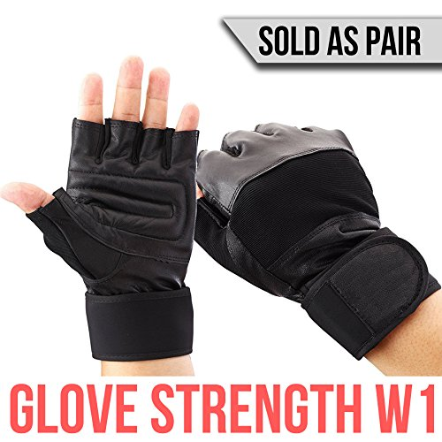 147th Gloves Strength W1 - Durable Tactical Workout Gym Leather Gloves Wraps with Wrist Support - For Elite Athletes: Military, Powerlifting, Bodybuilding, and Weight Lifting - Sold as Pair (Small)
