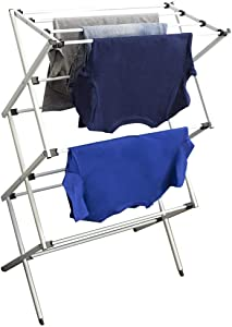 Home Basics Collapsible Air-Drying Rack Foldable Indoor/Outdoor Clothes Laundry Hanger, Rust-Proof, Space Saving Storage, Grey