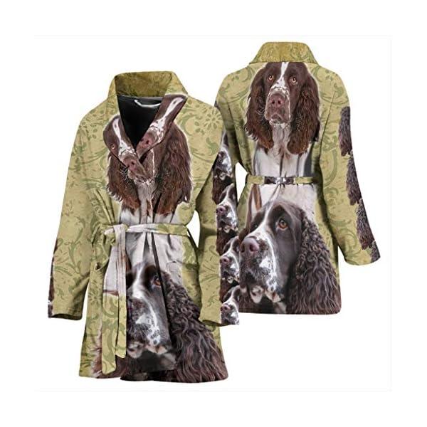 Mamazz Cute English Springer Spaniel Print Women's Bath Robe 3