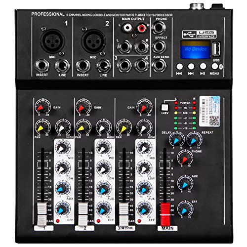 Depusheng HT4 Professional 4 Channel USB Jack Portable Audio Mixer Bluetooth Live Studio Audio DJ Sound Mixing Console