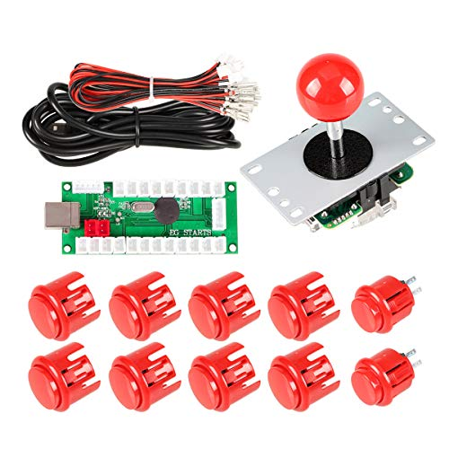 EG STARTS Zero Delay USB Encoder To PC Controller OEM 5Pin Joystick + 10 Push Buttons For Arcade DIY Kits Parts Mame #Red