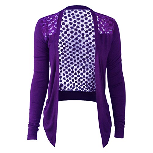 MIOIM Women's Long Sleeved Lace Crochet Flower Knitted Blouse Cardigan Tops Shirt (Purple) (Purple Crochet Cotton)