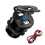 CHGeek Dual USB Charger Socket Power Outlet Waterproof Marine 2.1A & 2.1A (4.2A) with Voltmeter LED Digital Display for 12V/24V Car RV Boat Motorcycle Mobile