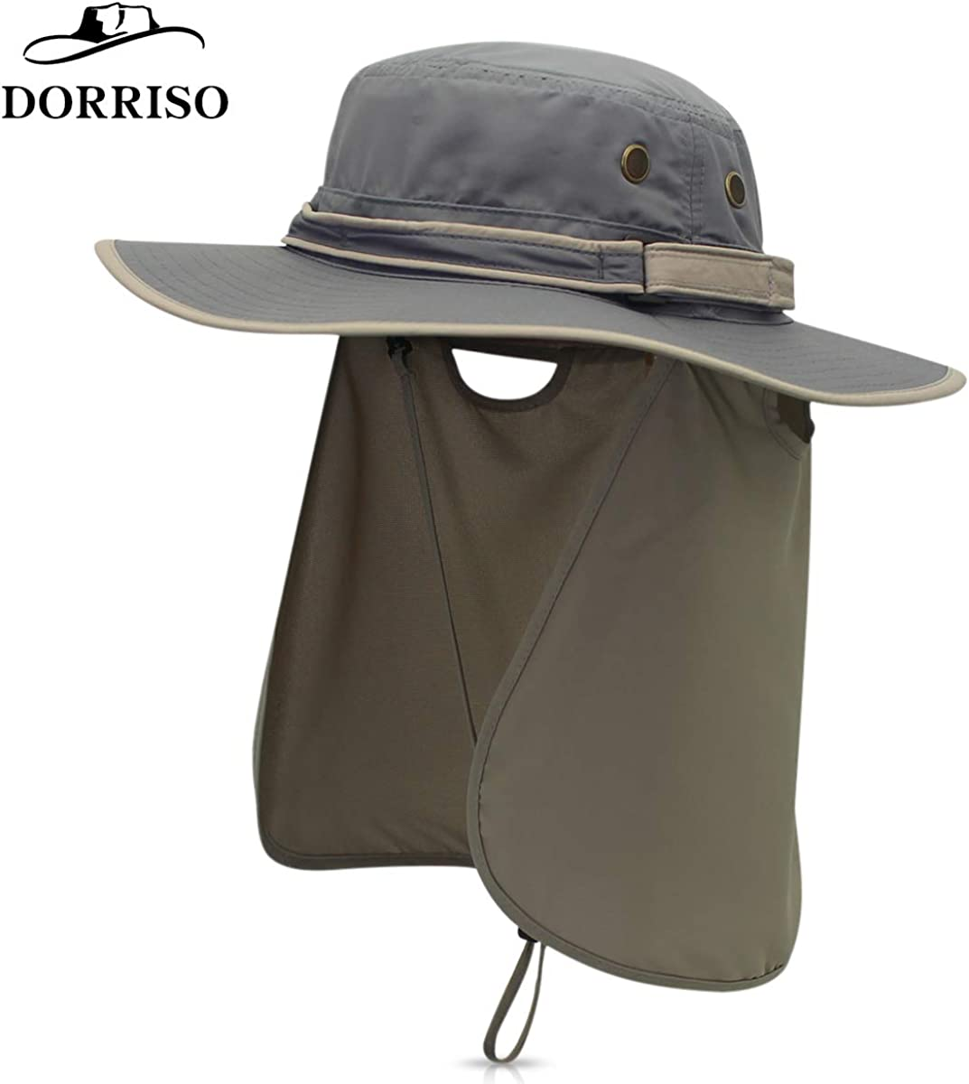 DORRISO Sun Hat Unisex Wide Brimmed Bucket Hat UV Protection Bush Hat Foldable Vacation Traveling Safari Boonie Hat Waterproof Polyester Fisherman Cap