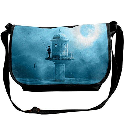 Angler Fishing Rod Lake Water Casual Adjustable Strap Shoulder Bag - Crossbody Sling Messenger Bags