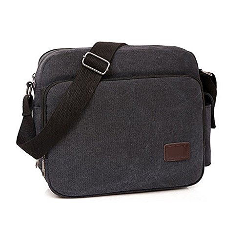 Wobuoke Men's Canvas Messenger Shoulder Bag Crossbody Sling School Bags Satchel Phone Wallet organize by Wobuoke_Bag