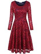 SUNGLORY Women's Vintage Floral Lace Cocktail Formal Contrast Color Big Swing A-Line Dress